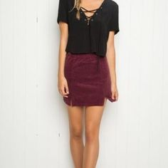 Maroon corduroy Raquel skirt BNWT. Price is $60 shipped through ️️ g&s Brandy Melville Skirts Mini