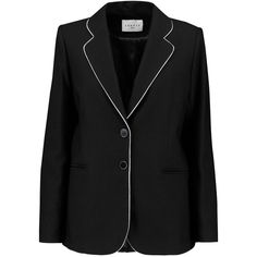 Sandro Twill blazer (11.525 RUB) ❤ liked on Polyvore featuring outerwear, jackets, blazers, black, sandro jacket, twill jacket, slim blazer jacket, slim fit blazer and slim fit jackets