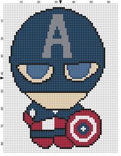 Captain America (Weenie) Cross Stitch Pattern - Professional Pattern Designer and Artist Collaboration