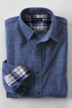 $49.50 - Land's End Tailored Flannel, Navy Jaspe (Size: L)