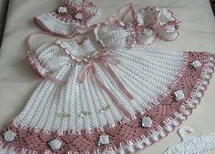 Crochet Baby Dress International Crochet Patterns, lovely heirloom style baby d. Crochet Baby Dress Pattern, Baby Dress Patterns, Baby Girl Crochet, Crochet Baby Clothes, Crochet Patterns, Crochet Designs, Pattern Dress, Knitting Patterns, Vestidos Bebe Crochet