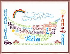 Lets Vacation 'Words' cross stitch pattern designed by Ursula Michael,