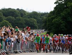 The Peleton goes through Richmond Park during the Mens Cycling Road Race on July 28, 2012 in London, England.