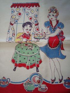 Vintage linen tea towel.  Great colors!