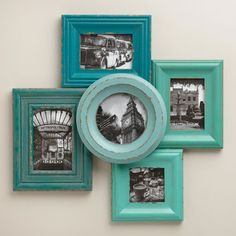 Turquoise teal aqua colored photo frames in 5 shapes! Really nice.. especially with black and white images! Such an inspiration!
