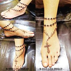 gettattoosideas.com rosary ankle tattoos, rosary ankle tattoo, rosary ankle tattoos designs, top, cross, cute, foot, on ankle, blessed, religious, beads, ankle rosary tattoo idea