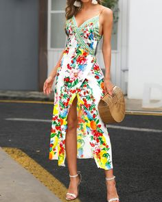 Boho Print High Slit Deep V Slip Maxi Dress - Women store Maxi Dress With Slit, Wrap Dress Floral, Boho Dress, Floral Maxi, Ruffle Dress, Slim Fit Dresses, Casual Dresses, Maxi Dresses, Backless Dresses