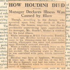 Was this the cause of Houdini's death?