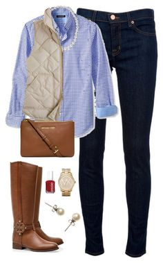 """Fall Outfit"" by classically-preppy ❤ liked on Polyvore featuring J Brand, Banana Republic, J.Crew, Tory Burch, Michael Kors and Essie"