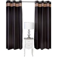 By Caprice Butterfly Gold Black Satin Eyelet Curtains ($44) ❤ liked on Polyvore featuring home, home decor, window treatments, curtains, metallic gold curtains, pleated draperies, black satin curtains, gold window treatments and metallic curtains