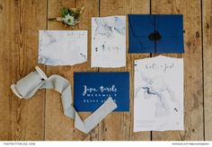 Thanks to amorphous lines in varying shades of blue and feminine metallic typography, this stationery set was a distinctive yet tasteful work of art. Wedding Stationery Inspiration, Stationery Set, Shades Of Blue, Metallic, Typography, Feminine, Kitty, Wedding Ideas, Artwork
