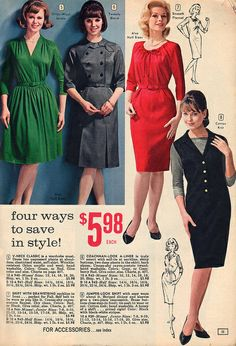 Four different dress styles from 1964