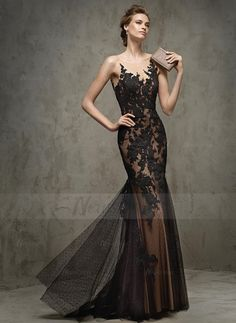 Trumpet/Mermaid Scoop Neck Sweep Train Appliques Lace Tulle Lace Covered Button Regular Straps Sleeveless No Black Grape Spring Summer Fall Evening Dress