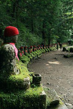 hundred stone statures of mossy JIZO.