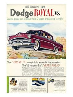 Premium Giclee Print: Brilliant Dodge Royal V8 : 40x30in