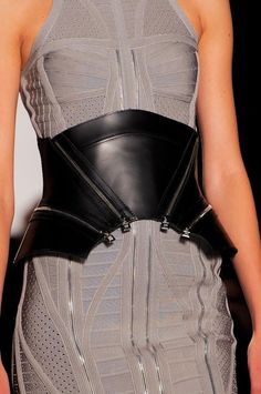 Zipper Chic - grey dress with wide leather belt - line & structure; edgy fashion details // Herve Leger