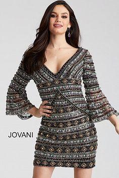 79677989eba Black and Multi Beaded Bell Sleeve Short Dress 50645  ShortPromDress  Jovani   Prom2018