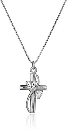"""nice Sterling Silver Cubic Zirconia """"Faith Hope Love"""" Cross Pendant Necklace, 18"""""""