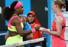 1/20/15 18-Time Grand Slam Champion Serena Williams Wins Opening Match at Australian Open! Serena made a good start towards capturing a 19th career Grand Slam with a 6-0, 6-4 win over Alison Van Uytvanck of Belgium on Monday.  Dressed in a bright yellow and pink-trimmed outfit with a cut-out back, The World #1 won the 1st set in just 21 minutes.