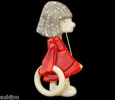 LEA STEIN RED DRESS GIRL WHITE HOOP KID CHILD BROOCH PIN FRENCH RESIN PARIS