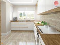 biala kuchnia z drewnianym blatem, ladna podloga i wykonczenie sciany