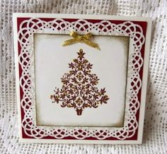 Copper embossing on christmas tree and hand punched frame