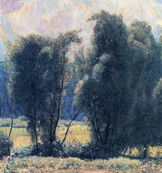 Landscape Painting by American Impressionist Artist Daniel Garber ~ Willows, Noon