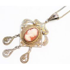 Antique Edwardian Hand Carved Shell Cameo 15ct Gilded Silver Filigree... ❤ liked on Polyvore featuring jewelry, necklaces, silver filigree necklace, shell necklace, silver necklace pendant, silver chain necklace and antique cameo necklace