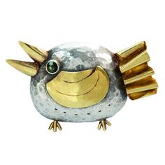 Walter Schluep Figural Sterling and Gold Bird Pin | From a unique collection of vintage brooches at https://www.1stdibs.com/jewelry/brooches/brooches/