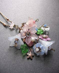 Long Lucite Flower Necklace. SemiPrecious Charm Necklace - Spring Nosegay via Etsy