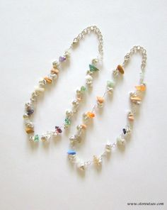 2 Anklets Mixed Stones Chips 100% Genuine Chakra Gemstone with Ringing Metal Beads Handmade Yoga Jewelry Positive Healing Crystal India