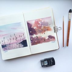 Landschaft – # Landscape- # artsy - My CMS Art Inspo, Inspiration Art, Sketchbook Inspiration, Sketchbook Ideas, Painting & Drawing, Watercolor Paintings, Watercolor Sunset, Watercolor Artists, Watercolor Beginner