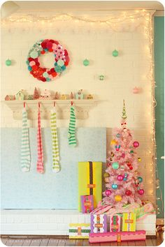 Great idea for a playroom-- the lights and bright colored tree
