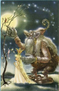 Rolf postcard | eBay ~ Troll with Fairy Queen, Birds in Tree