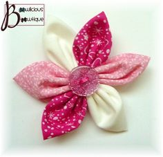 Sweet pink fabric flower hair bow with glitter button