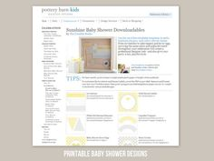 free printable yellow + gray baby shower for @potterybarnkids