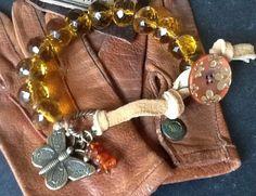 BuTTeRFly BoHo BRaCeLeT/ AmBeR Pebbles/ knotted Boho/ Hippie/ Teen girl/ women's bracelet/ chunky honey faceted glass beads/ Gift