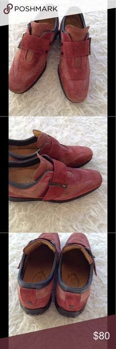TOD's suede shoes TOD's mauve suede shoes. Beautiful Buckle detail with Velcro closure. LIKE NEW! Tod's Shoes Flats & Loafers