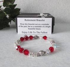 GiftJewelryShop Silver Plated Christmas Fireplace Photo Red Siam Crystal January Birthstone Flower Dangle Charm Bracelets
