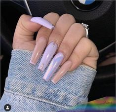 The arrival of summer means that the rules for nail design will disappear. You can choose your favorite nail color and type in summer, and this season is also a great opportunity to show different… Light Purple Nails, Purple Acrylic Nails, Summer Acrylic Nails, Best Acrylic Nails, Summer Nails, Nail Ideas For Summer, Acrylic Nail Designs For Summer, Long Square Acrylic Nails, Purple Nail Designs