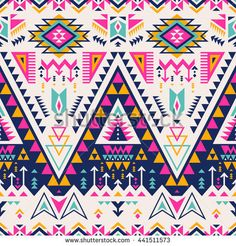 multicolor tribal Navajo vector seamless pattern. aztec fancy abstract geometric art print.