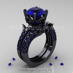 14K Black Gold French Vintage 3.0 Ct Blue Sapphire Solitaire and Wedding Ring Bridal Set R401S-14KBBS    This trend defining color style (blue