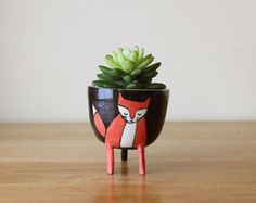 Small Three-legged Planter with Black Cat on White by Beardbangs