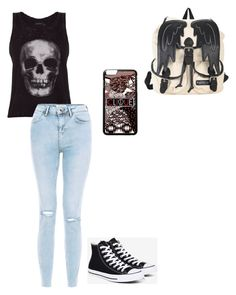 """""""Untitled #82"""" by darkenedroses on Polyvore featuring ElevenParis, New Look and Converse"""