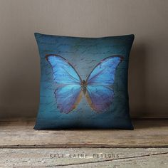 Blue Butterfly THROW PILLOW  Home Decor  Room by KaliLaineDesigns