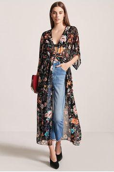 Product Name:Sheer Floral Chiffon Kimono Dress, Category:dress, Kimono Outfit, Kimono Jacket, Kimono Fashion, Boho Fashion, Girl Fashion, Chiffon Kimono, Floral Chiffon, Chic Outfits, Dress Outfits