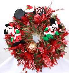 Disney Merry Christmas Mickey And Minnie Mouse Deco Mesh Door Wreath, $99.00