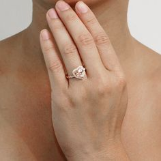 Morganite Ring Heart Shape Cut Dainty Morganite Diamond by SAMnSUE