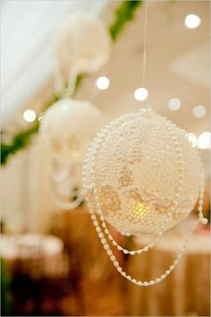 doilie chandelier & lights
