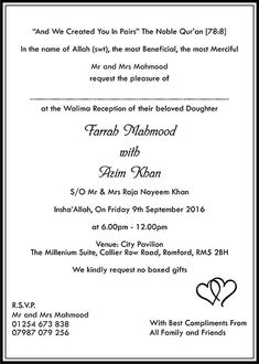 15 Best Muslim Invitation Images Muslim Wedding